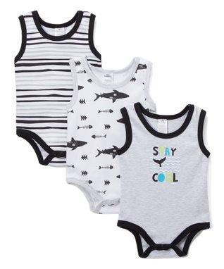 c6a22e5531da Gray   Black Shark  Stay Cool  Sleeveless Bodysuit Set - Infant