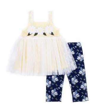 8ff64c05795e0 White Swing Top & Blue Floral Skimmers - Infant, Toddler & Girls
