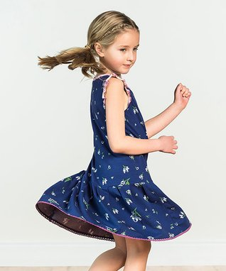 3e6ba7fdd614 Blue Floral Photo Op Angel-Sleeve Dress - Toddler   Girls