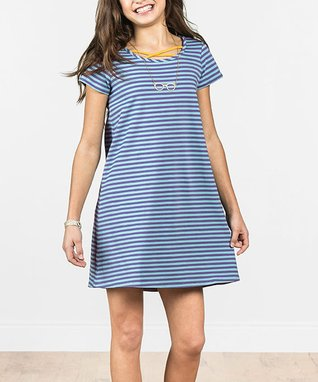 e6ea4911ca2 Blue Stripe Long Way Home Shift Dress - Girls