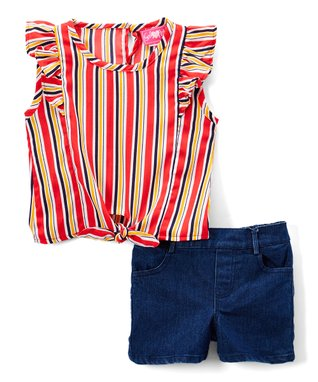 3772c95e7f4 Red   Blue Stripe Angel-Sleeve Top   Denim Shorts Set - Girls