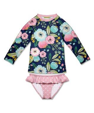 9d9aa65516a99b Navy Floral   Dot Rashguard Set - Infant
