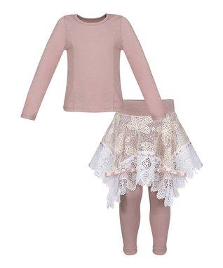 ed5455af0a2 Pink   Creme Lace Top   Skirted Leggings Set - Toddler   Girls