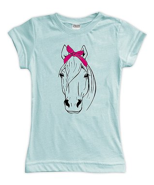ee50cc74 Light Aqua Bandanna Horse Fitted Tee - Toddler & Girls