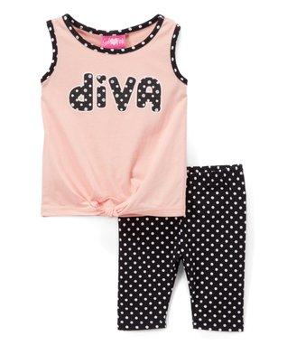 f70bec0cd Peach 'Diva' Knot-Front Tank & Black Polka Dot Bike Shorts - Toddler & Girls