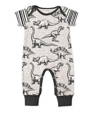 9e04e794a054 Gray Dinosaur Stripe Short-Sleeve Playsuit - Newborn & Infant