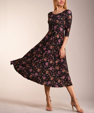 6032d7fb52eb Black & Lilac Floral Three-Quarter Sleeve Midi Dress - Women & Plus