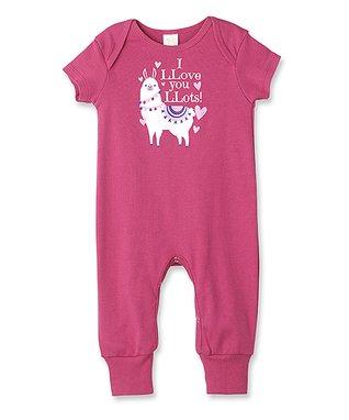 f6ace5ed4 Fuchsia  I Llove You Llots  Llama Short-Sleeve Playsuit - Newborn   Infant