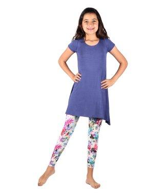 c00f7112dd5 Blue Swing Tunic   White   Blue Floral Leggings - Girls