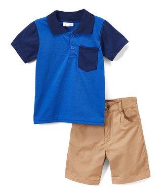161f7487f Blue Color Block Polo & Khaki Shorts - Infant & Toddler
