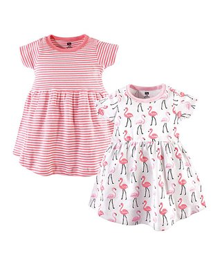 472efc08b96b Pink & White Stripe Flamingo Short-Sleeve A-Line Dress Set - Newborn