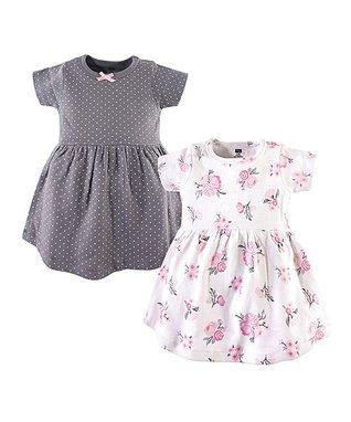 96c0f8e64 Gray & Pink Pin Dot Floral Short-Sleeve A-Line Dress Set - Infant, Toddler  & Girls