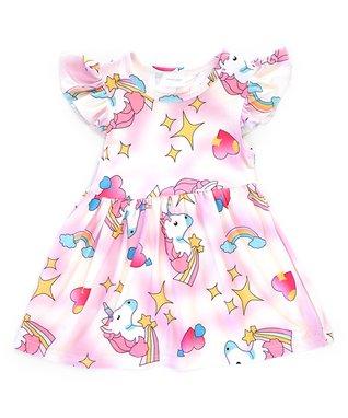 7a4cf223d2 Pink Unicorn Angel-Sleeve Dress - Infant, Toddler & Girls