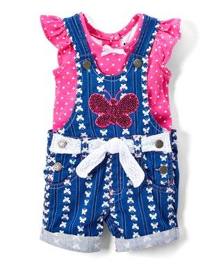 44e512b0e Blue Denim Sequin Butterfly Shortalls & Fuchsia Flutter-Sleeve Tee - Infant,  Toddler & Girls