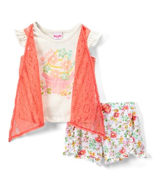 631e63d692bc4 Off-White & Pink Floral Shrug-Layered Tee & Shorts - Toddler & Girls