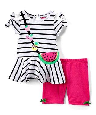 aa5d7f0b880 Black   White Stripe Watermelon Tunic   Fuchsia Leggings - Infant   Toddler
