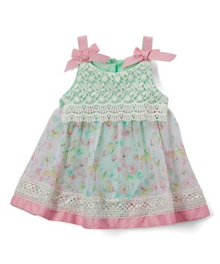 e63047fee37 Green Floral Lace-Accent Sleeveless A-Line Bodysuit Dress - Newborn   Infant