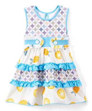 a1fac3923885 Turquoise & Yellow Pineapple Tiered A-Line Dress - Toddler & Girls