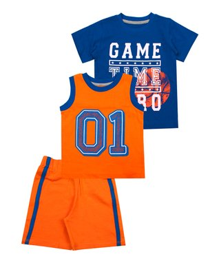 ecf08090b Blue & Orange 'Game Time Hero' Shorts Set - Infant, Toddler & Boys