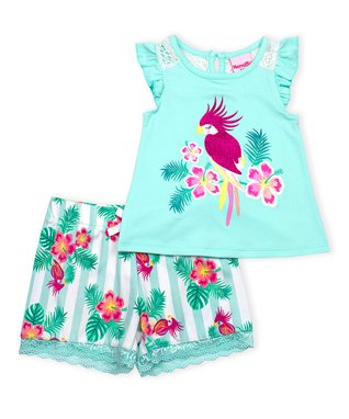 30d3a0fe0 Blue Tropical Bird Angel-Sleeve Top & White Floral Stripe Shorts - Infant,  Toddler & Girls