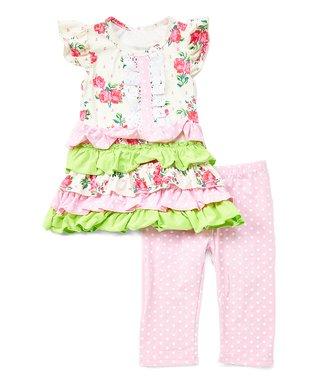 ffc233e31 Pink & Green Floral Ruffle Tunic & Polka Dot Capri Pants - Newborn, Infant,  Toddler & Girls