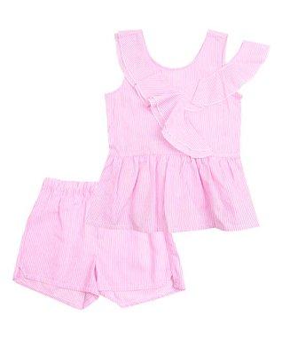 2f9b4fd819d Pink Stripe Asymmetrical-Ruffle Peplum Top   Shorts - Toddler   Girls