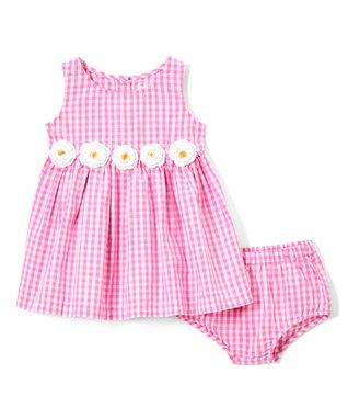 5851c90c629c8 Pink Gingham Daisy-Belt Sleeveless Dress & Pink Gingham Bloomers - Infant &  Toddler