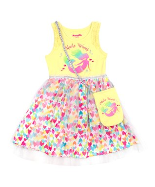 9990ec656 Yellow 'Make Waves' Hearts A-Line Dress & Yellow Mermaid Purse - Toddler &  Girls