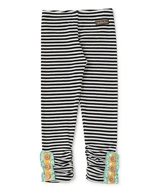 4ffb4128380 Black   White Stripe Ruched Button-Hem Tiptoe Leggings - Toddler   Girls