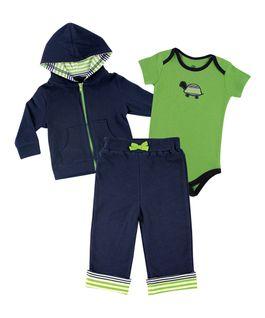 1738a07b3 Green & Navy Turtle Hoodie Set - Newborn & Infant