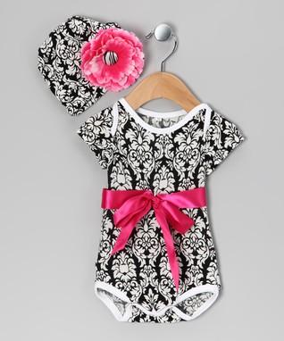 d2007a910 Black Damask Bow Bodysuit & Beanie - Newborn & Infant