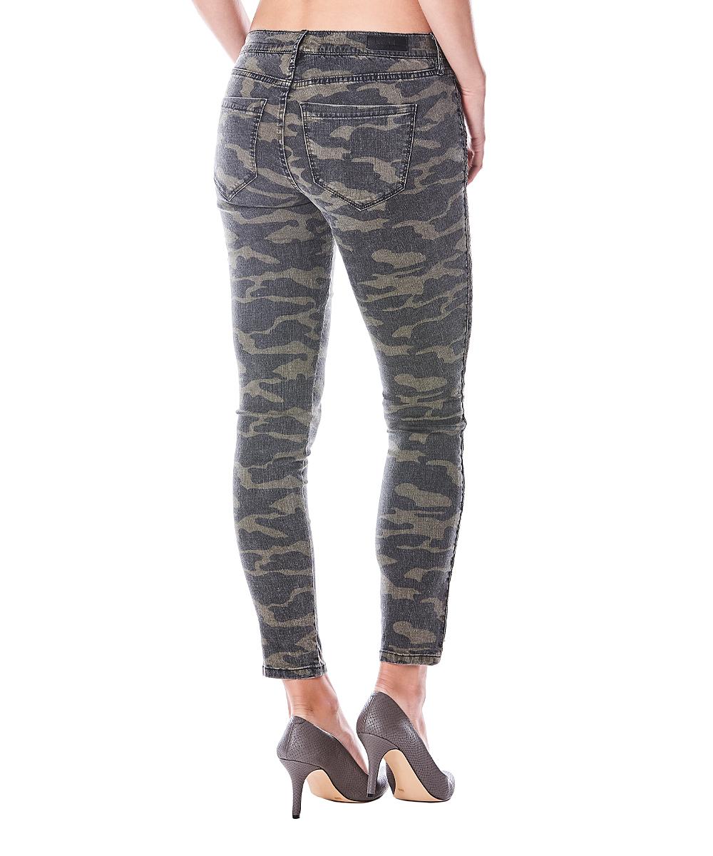 6e36d435fedc Nicole Miller New York Green & Brown Camo Skinny Jeans - Women | Zulily
