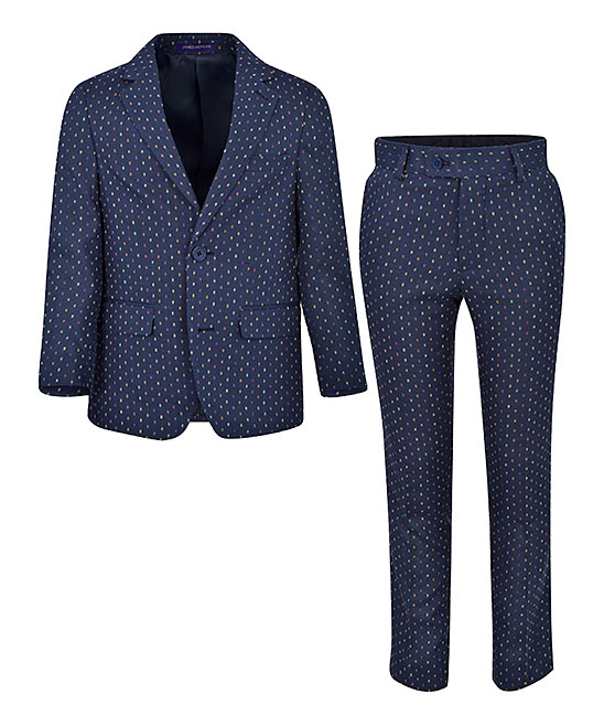 65076726dd1202 James Morgan Navy & White Linen Two-Piece Suit - Boys | Zulily