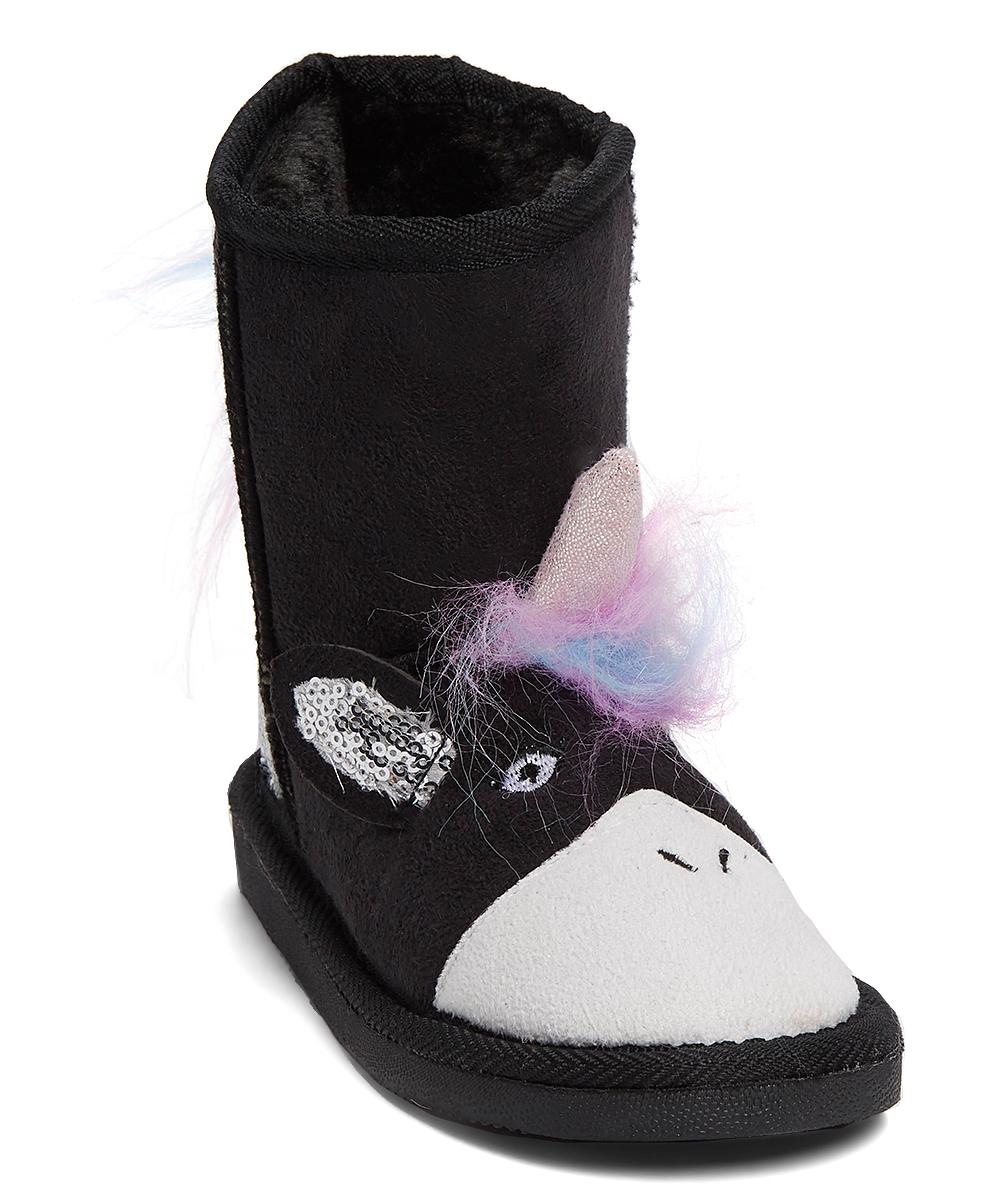 Black Unicorn Slipper Boot - Girls   Zulily