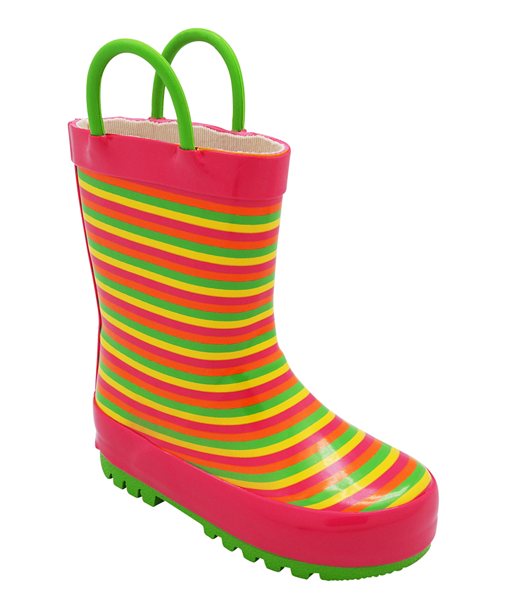 Norty Girls' Rain boots Lime - Lime Green & Orange Stripe Rain Boot - Girls
