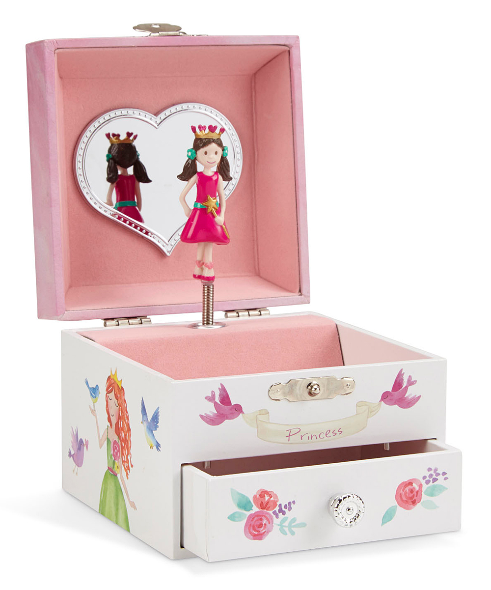Fairy Princess Square Musical Jewelry Box Fairy Princess Square Musical Jewelry Box. Keep jewelry favorites safe and sound with this box in a precious design to adorn their nightstand.4.9'' W x 4.4'' H x 3.5'' DPlays Dance of the Sugar Plum FairyRecommended for ages 4 years and upImported