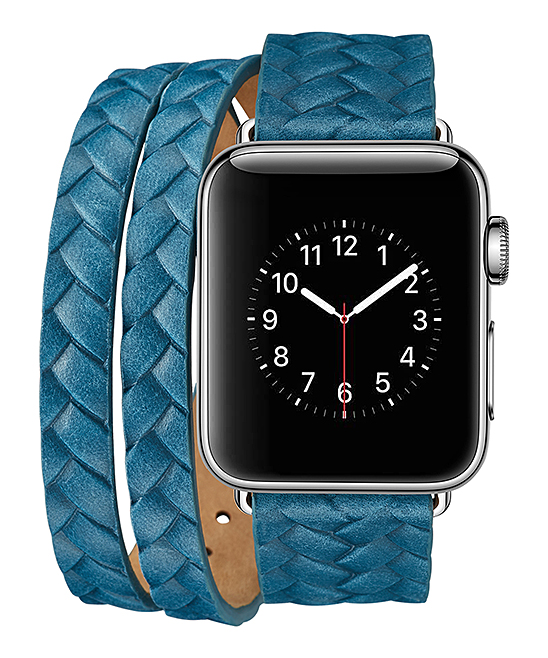 iPM  Replacement Bands Blue - Blue Braided Leather Double-Wrap Band for Apple Watch