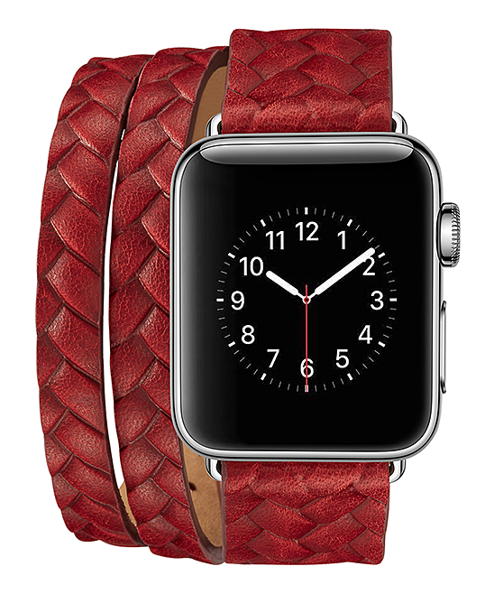 iPM  Replacement Bands Red/Black - Red Braided Leather Double-Wrap Band for Apple Watch