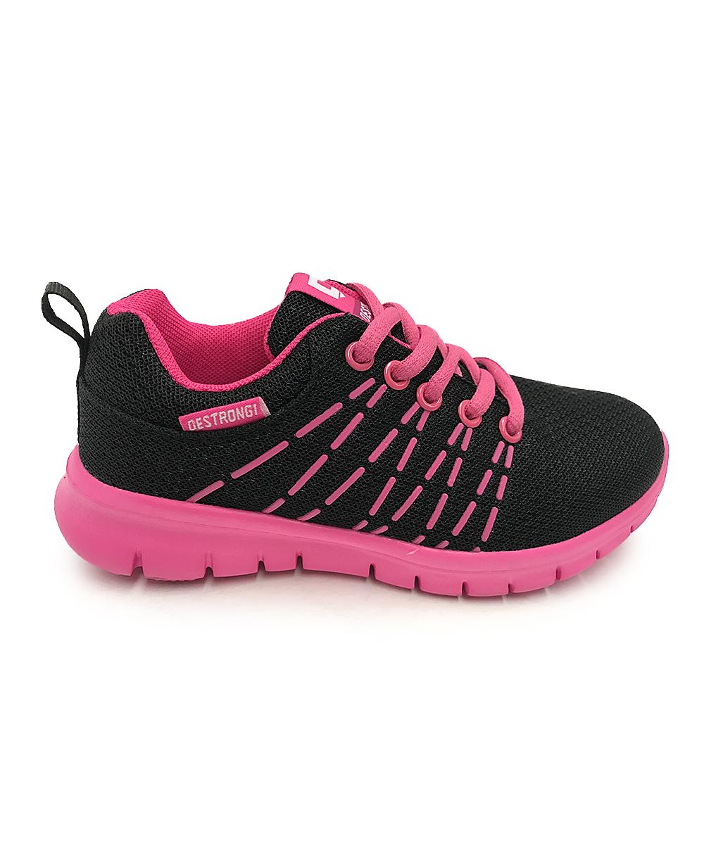 SPORT Girls' Sneakers blk/fu - Black & Fuchsia Lace-Up Sneaker - Girls