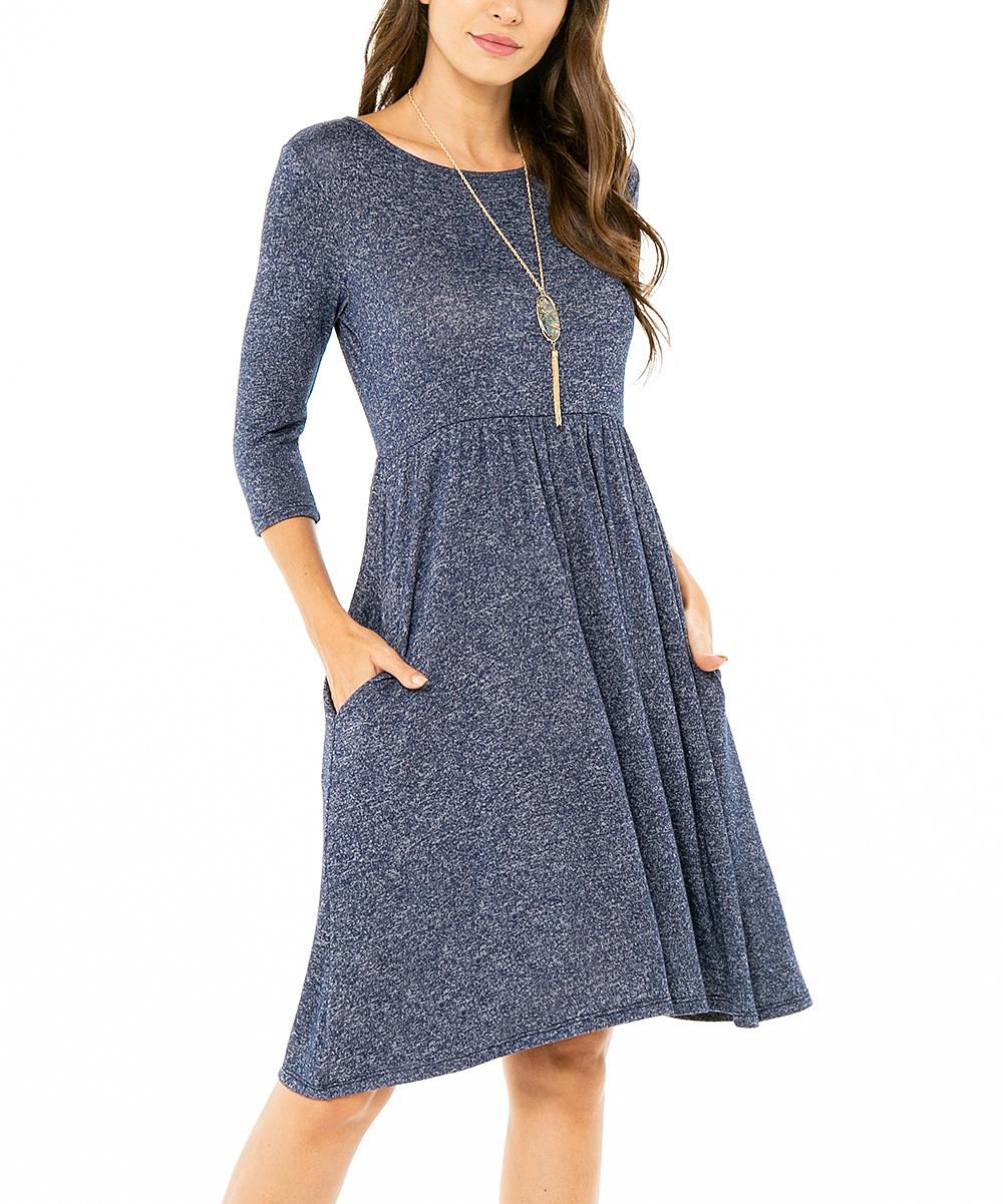 ff4f1a35776f Paolino Navy Scoop Neck Sweater Dress - Women