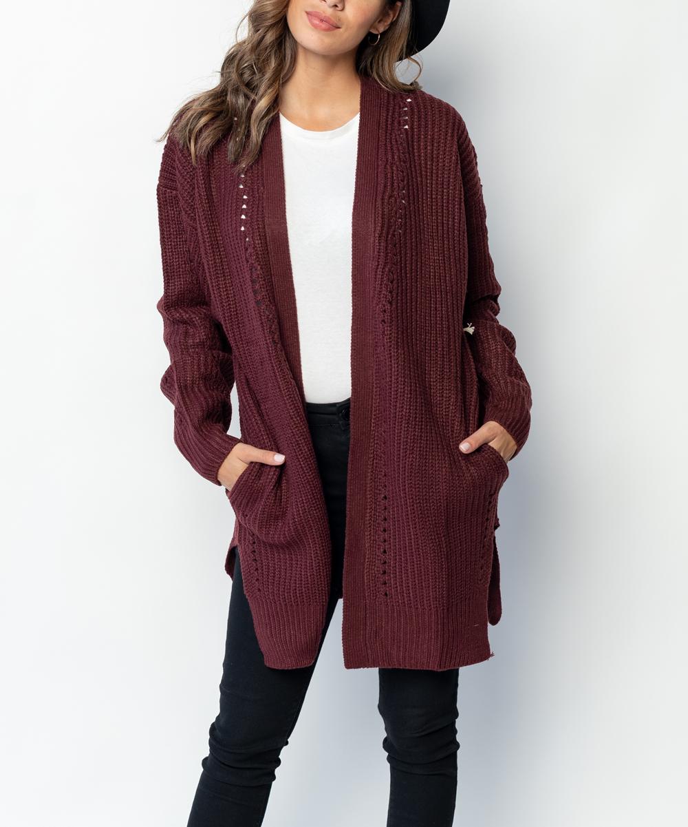 82da570e708e8c Caralase Burgundy Knit Pocket Open Cardigan - Women