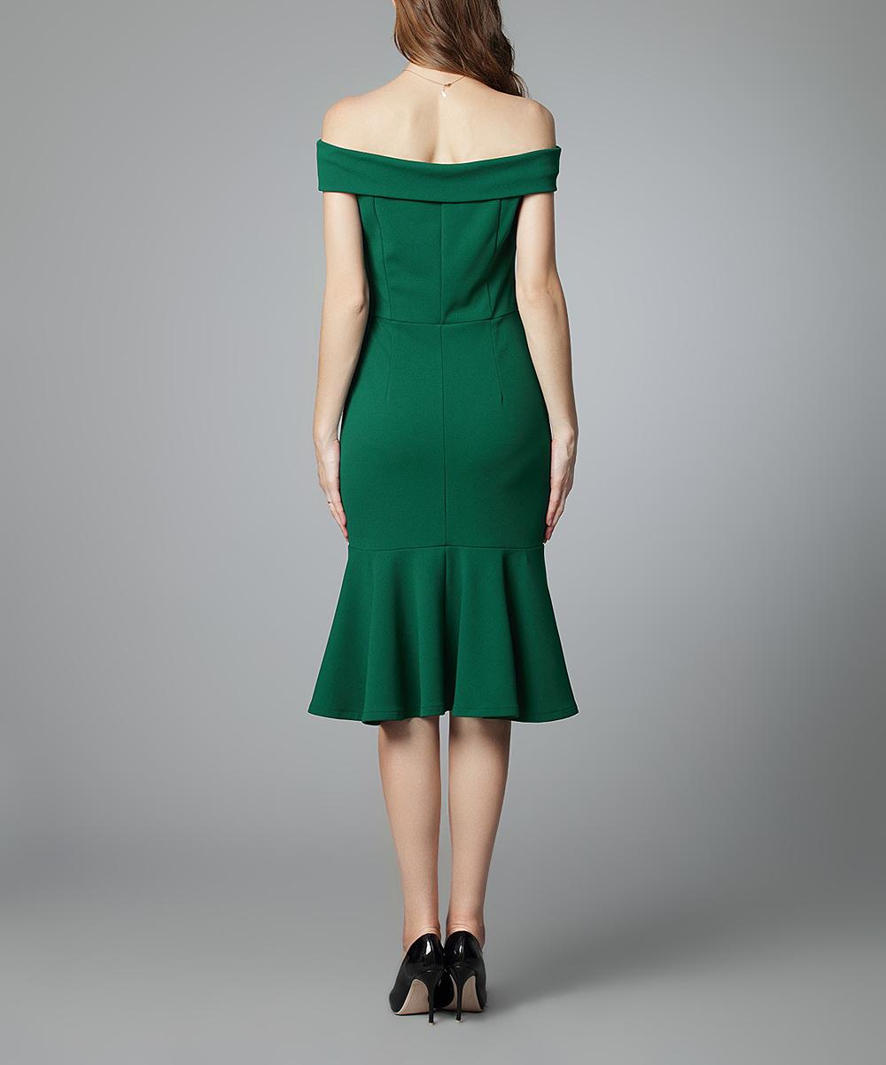 afbd17676d15 Knitee Dark Green Ruffle-Hem Off-Shoulder Dress - Women