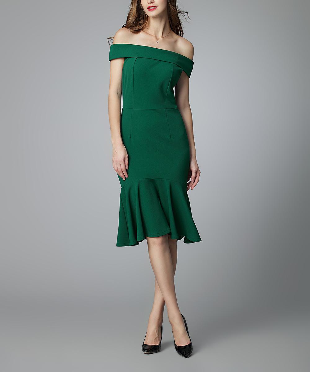 Dark Green Off Shoulder Dress