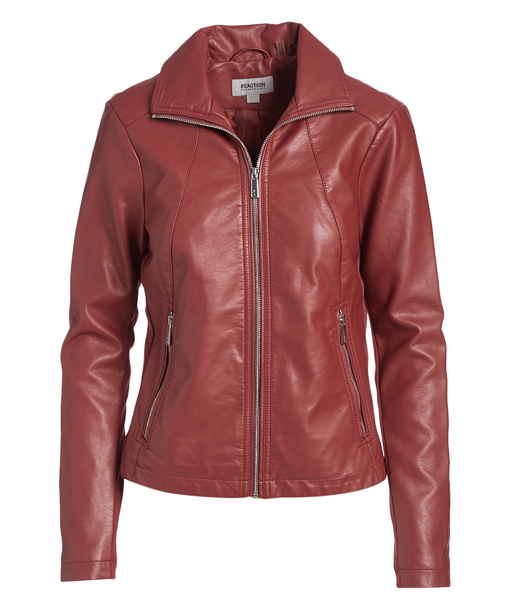 3a207b12f Kenneth Cole Ruby Red Faux Leather Jackets - Women