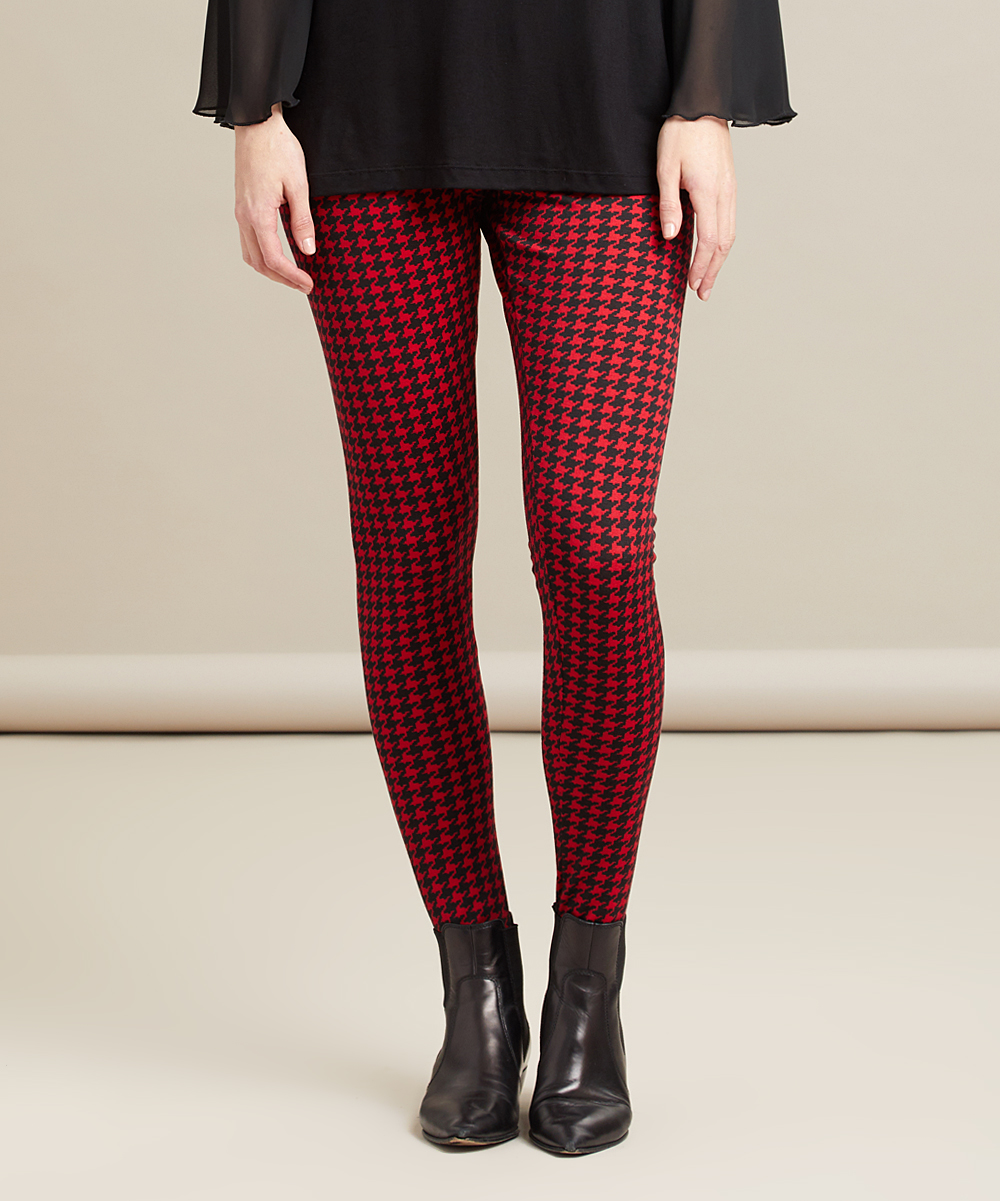 e7873c66085ea ... Womens Black Red Houndstooth Red & Black Houndstooth High-Waist Stirrup  Leggings - Alternate Image ...