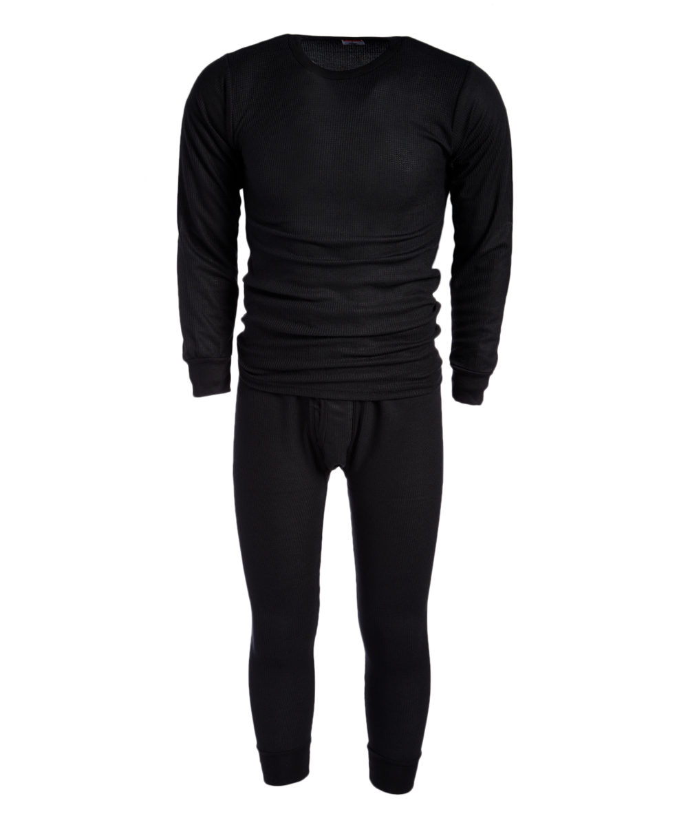 ROCKY Men's Thermal Bottoms BLACK - Black Waffle Thermal Underwear Set - Men Black Waffle Thermal Underwear Set - Men. A heat-trapping waffle knit construction creates the toasty and flexible fit of this thermal set featuring ribbed cuffs for added warmth. Size note: This set is meant to have a tight fit so they can be worn underneath other clothing for additional warm. If you wish to wear as loungewear or sleepwear, ordering one size up is recommended.Includes top and bottomsSize XL: 35'' long from high point of shoulder to hem; 25'' inseam65% cotton / 35% polyesterMachine wash; tumble dryImported