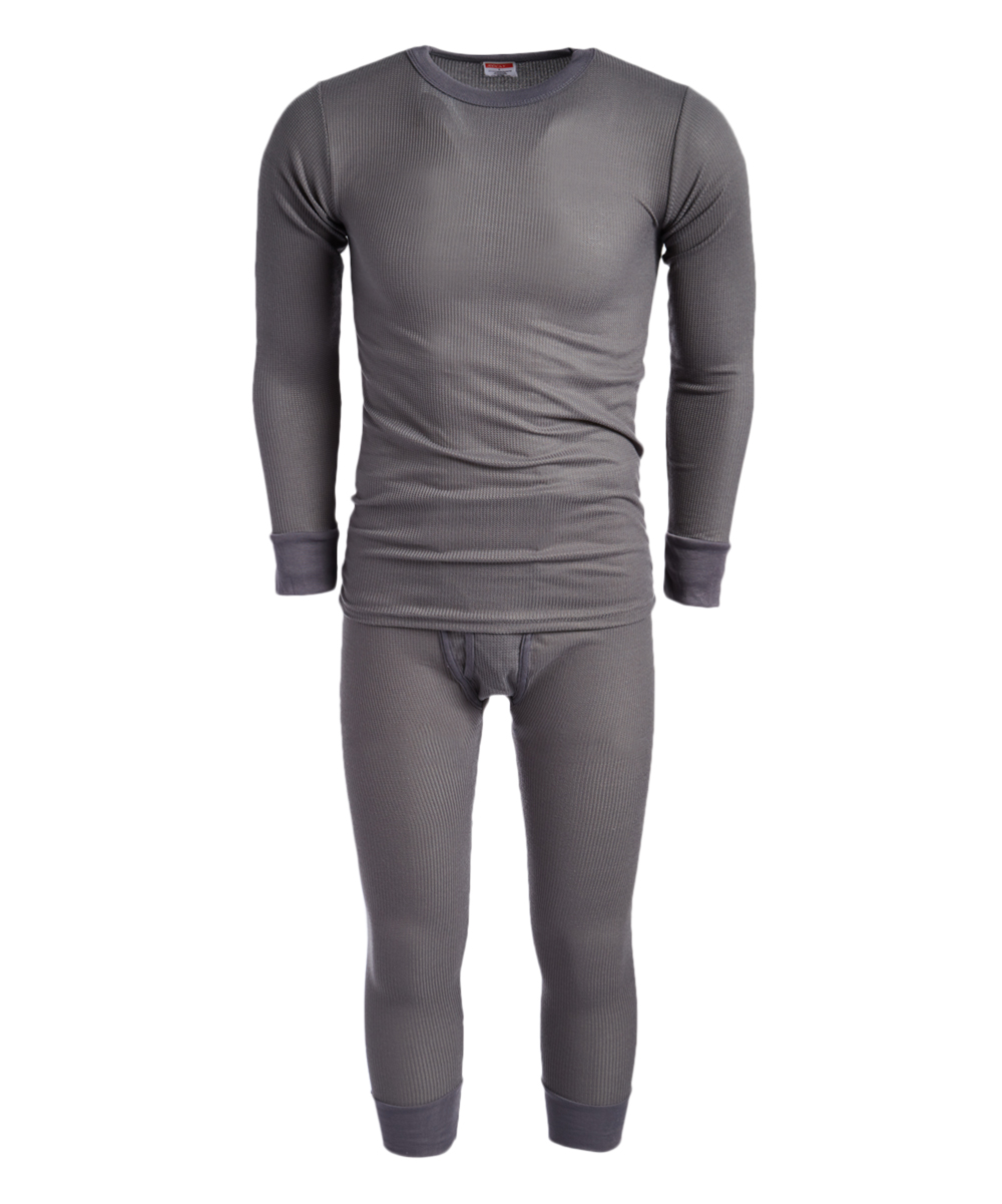ROCKY Men's Thermal Bottoms CHARCOAL - Charcoal Waffle Thermal Underwear Set - Men Charcoal Waffle Thermal Underwear Set - Men. A heat-trapping waffle knit construction creates the toasty and flexible fit of this thermal set featuring ribbed cuffs for added warmth.Size note: This item runs small. Ordering one size up is recommended. Includes top and bottomsSize XL: 35'' long from high point of shoulder to hem; 25'' inseam65% cotton / 35% polyesterMachine wash; tumble dryImported