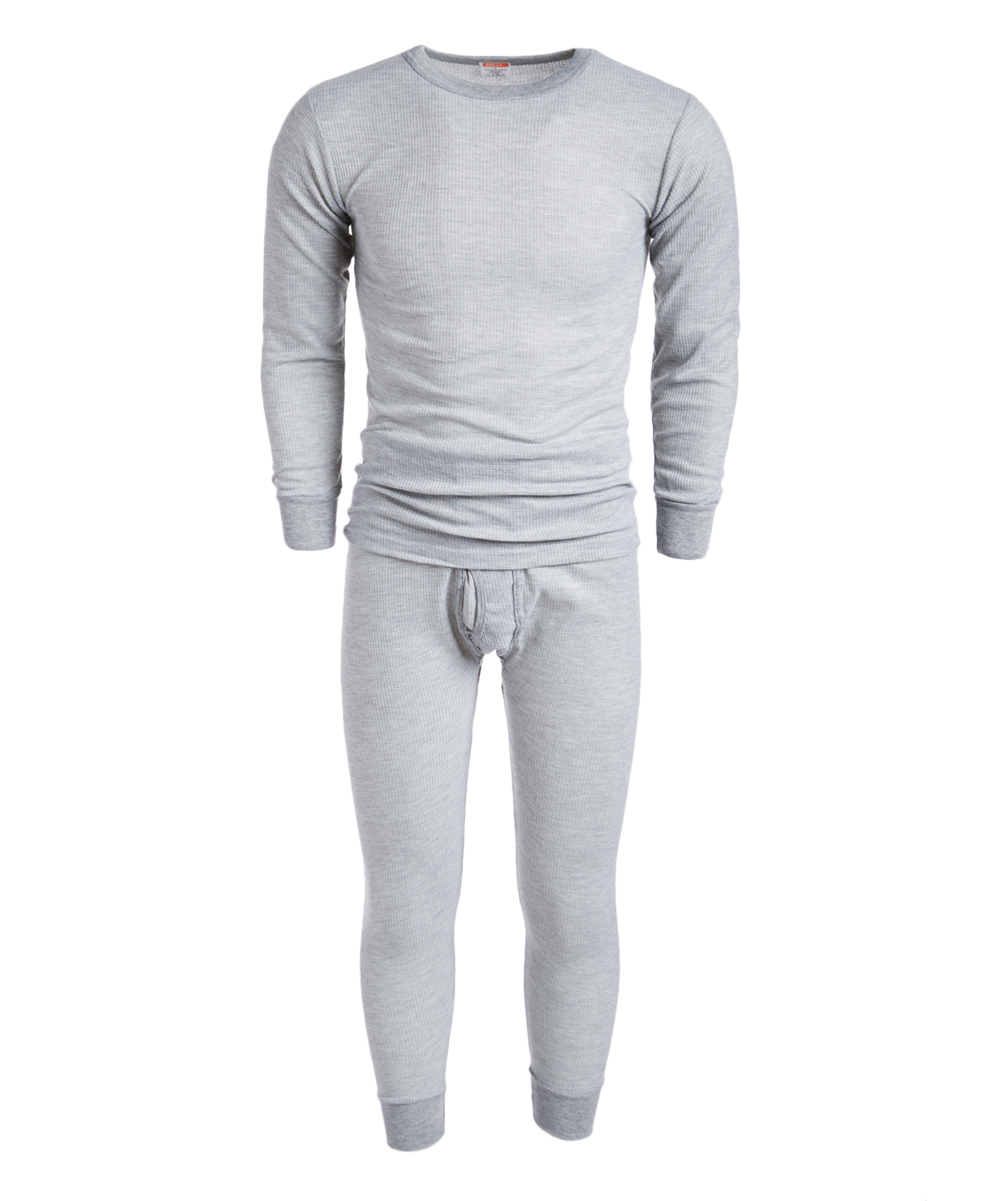 ROCKY Men's Thermal Bottoms LIGHT - Light Gray Waffle Thermal Underwear Set - Men Light Gray Waffle Thermal Underwear Set - Men. A heat-trapping waffle knit construction creates the toasty and flexible fit of this thermal set featuring ribbed cuffs for added warmth.Size note: This item runs small. Ordering one size up is recommended. Includes top and bottomsSize XL: 35'' long from high point of shoulder to hem; 25'' inseam65% cotton / 35% polyesterMachine wash; tumble dryImported