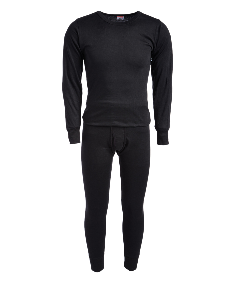 ROCKY Men's Thermal Bottoms BLACK - Black Thermal Underwear Set - Men Black Thermal Underwear Set - Men. This soft thermal set features lightweight, cotton-blend fabric that provides both warmth and breathability, while the sleek design gives him the ability to use these multitaskers as sleepwear or a base layer under almost any attire.Size note: This set is meant to have a tight fit so they can be worn underneath other clothing for additional warmth. If you wish to wear as loungewear or sleepwear, ordering one size up is recommended.Includes top and bottomsSize L: 30'' long from high point of shoulder to hem; 27'' inseam65% cotton / 35% polyesterMachine wash; tumble dryImported