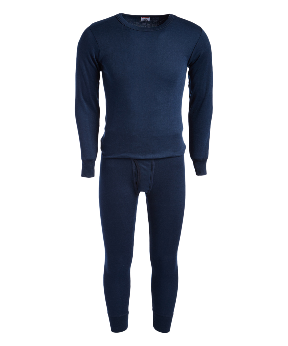 ROCKY Men's Thermal Bottoms NAVY - Navy Thermal Underwear Set - Men Navy Thermal Underwear Set - Men. This soft thermal set features lightweight, cotton-blend fabric that provides both warmth and breathability, while the sleek design gives him the ability to use these multitaskers as sleepwear or a base layer under almost any attire. Includes top and bottomsSize L: 30'' long from high point of shoulder to hem; 27'' inseam55% cotton / 45% polyesterMachine wash; tumble dryImported